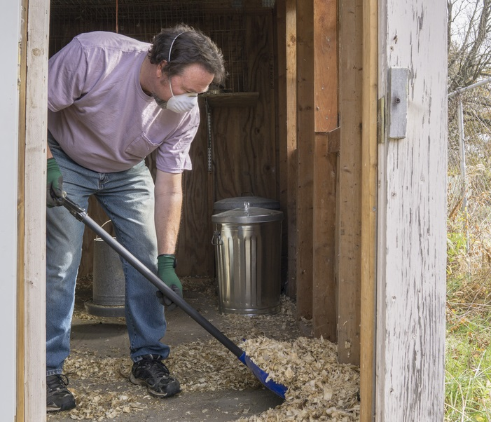 man cleaning out a chicken coop hen house