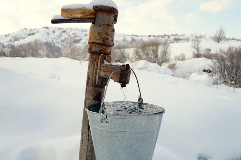 frozen bucket of water